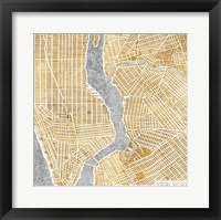 Framed Gilded New York  Map