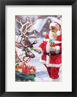 Framed Santa Feeding Reindeer