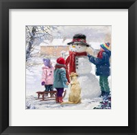 Framed Kids With Snowman