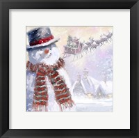 Framed Snowman And Sleigh