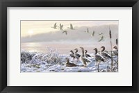 Framed Winter River Geese