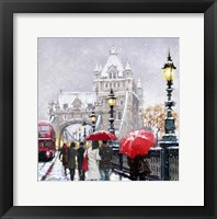 Framed Tower Bridge In Snow