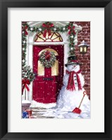 Framed Red Door Snowman