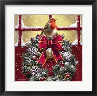 Framed Robin On Wreath