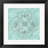 Jacobean Damask Blue/Gray II Framed Print