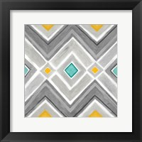 Chevron Tile Black/White I Framed Print