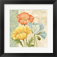 Framed Pastel Poppies Multi I