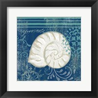 Navy Blue Spa Shells I Framed Print