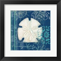 Navy Blue Spa Shells II Framed Print
