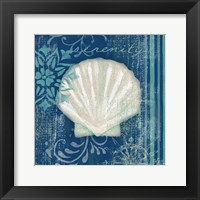Navy Blue Spa Shells III Framed Print