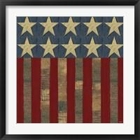 Framed Patriotic Printer Block Flag