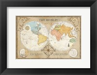 Old World Journey Map Cream Framed Print