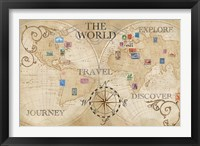 Old World Journey Map Stamps Cream Framed Print