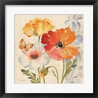 Watercolor Poppies Multi II Framed Print