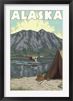 Framed Alaska Plane Lake Campsite