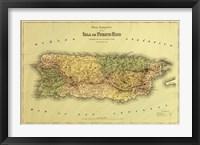 Framed Island of Puerto Rico Map