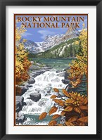 Framed Rocky Mountain Park Waterfall Ad