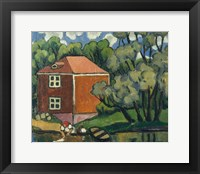 Framed Landscape With Red House And Woman Washing, 1908