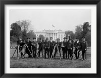 Framed Press Correspondents and Photographers on White House Lawn