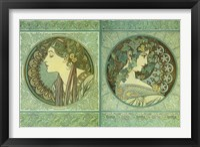 Framed Green Medallions