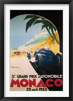 Framed Grandprix Automobile Monaco, 1933
