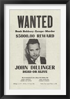 Framed John Dillinger Wanted Poster