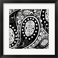 Paisley Party B/W Framed Print