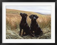 Framed Two Black Labs