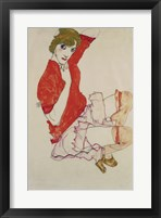 Framed Wally In Red Blouse With Raised Knees, 1913