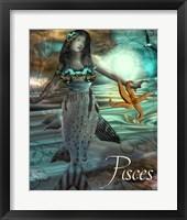 Framed Art Nouveau Zodiac Pisces