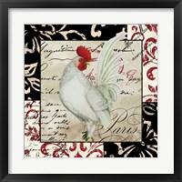 Europa White Rooster Framed Print