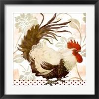 Rooster Damask II Framed Print