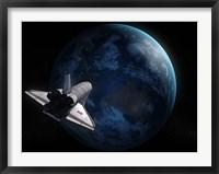 Framed Space Shuttle Against Earth