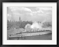 Framed RMS Queen Mary in New York Harbor
