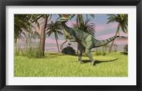 Dilophosaurus Hunting Framed Print