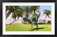 Dilophosaurus Hunting in a Field Framed Print