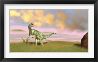 Dilophosaurus Hunting in an Open Field Framed Print