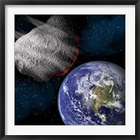 Framed Asteroid Approaching Earth