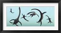 Framed Plesiosaurs Gather Underwater