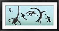 Framed Plesiosaurs Gather Underwater