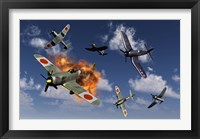 Framed F4U Corsair and Japanese Nakajima Planes