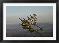 Framed Five Lockheed P-38 Lightnings