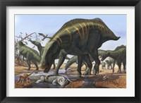 Framed Shantungosaurus Dinosaurs