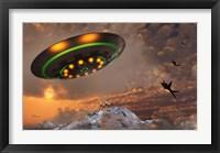 Framed F-22 Raptors Chase a UFO