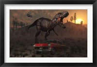 Framed Dinosaur and Classic Car