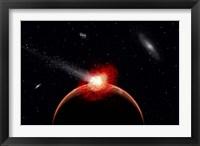 Framed Comet Hitting Alien Planet