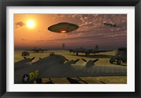Framed Alien UFO Flying over an American Airbase