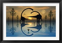 Omeisaurus Dinosaurs in Courtship Rituals Framed Print