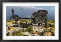 Framed Protoceratops Biting a Velociraptor