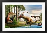 Framed Acrocanthosaurus Observes a Tenontosaurus